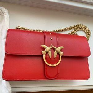 Pinko red mini love bag simply in leather
